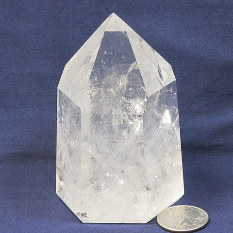 Polished Quartz Crystal Point with Rainbows from Brazil