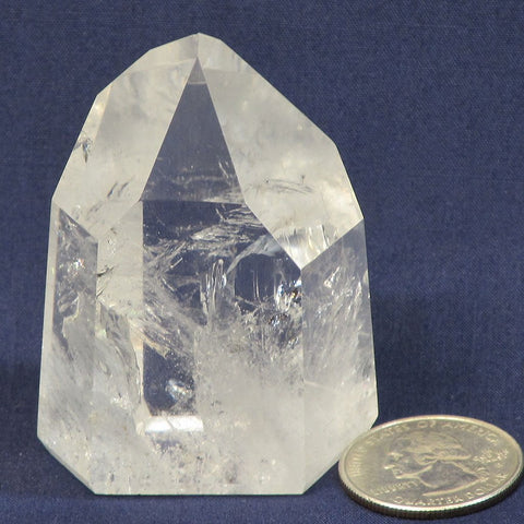 Polished Quartz Crystal Point with Rainbow from Brazil