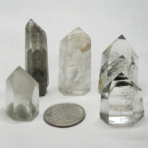 5 Polished Quartz Crystal Phantom Point from Brazil