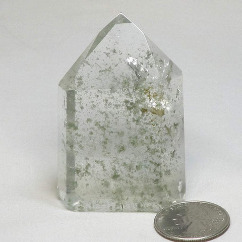 Polished Quartz Crystal Point with Included Chlorite & Rainbow