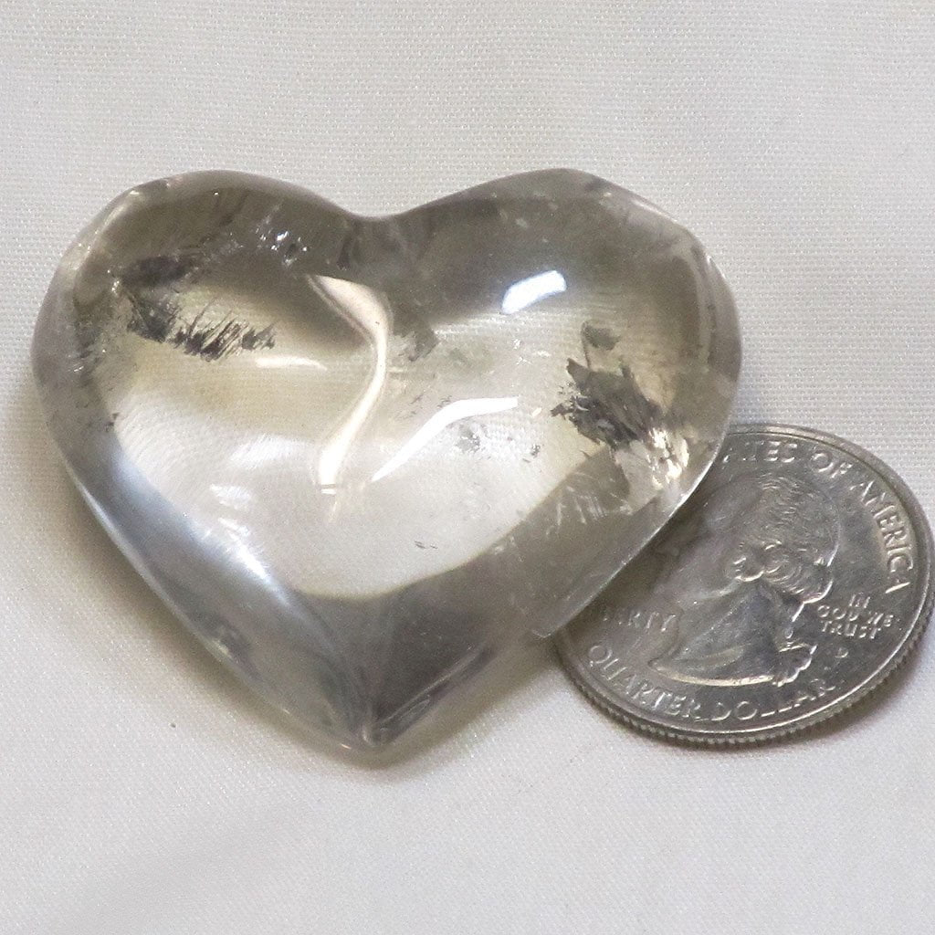 Polished Smoky Quartz Crystal Heart from Brazil