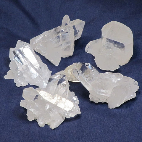 5 Quartz Crystal Clusters From Brazil