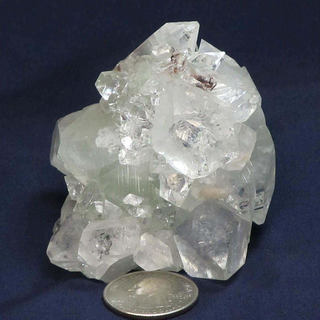 Apophyllite Cluster with Red Heulandite from India