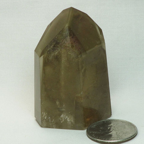 Polished Quartz Crystal Phantom Point from Brazil