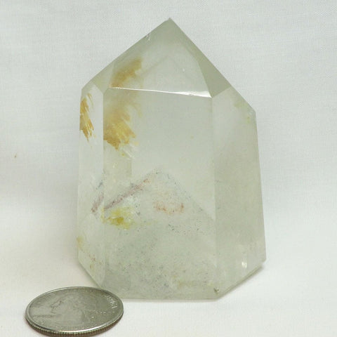 Polished Quartz Crystal Point with Phantoms from Brazil