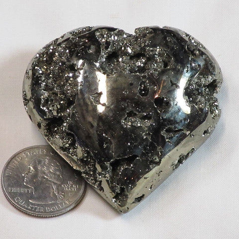 Polished Pyrite Heart from Peru