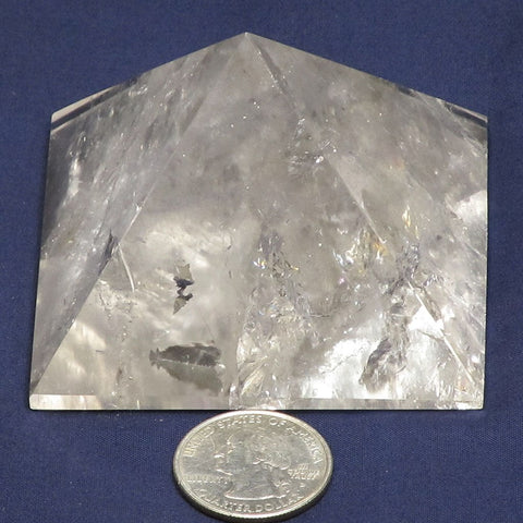 Polished Clear Quartz Crystal Pyramid with Rainbows from Brazil
