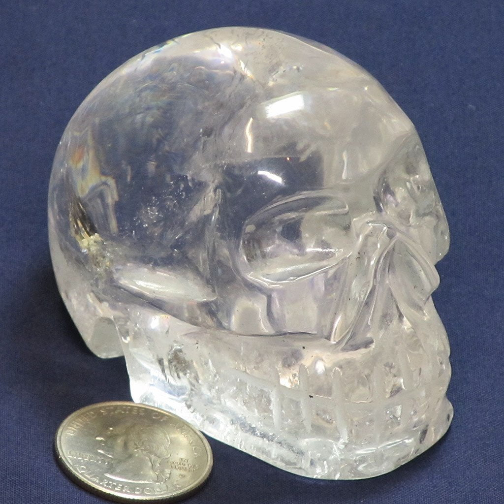 Carved Clear Quartz Crystal Skull with Rainbow from Brazil