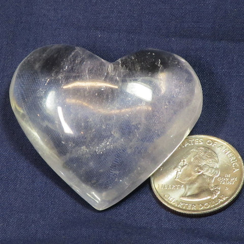 Polished Quartz Crystal Heart from Brazil