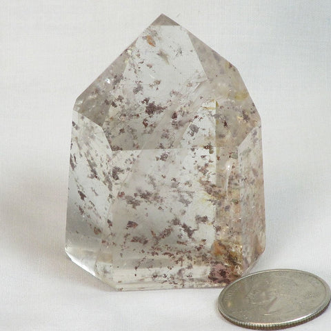 Polished Quartz Crystal Point with Included Rutile & Iron Granules
