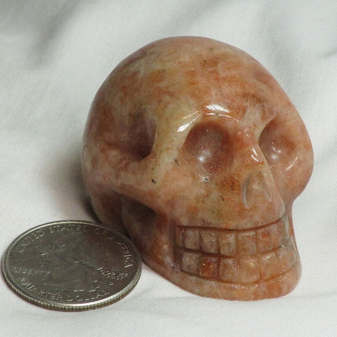 Carved Sunstone Skull from India