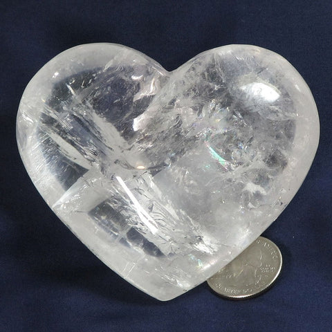Polished Clear Quartz Crystal Heart with Rainbows