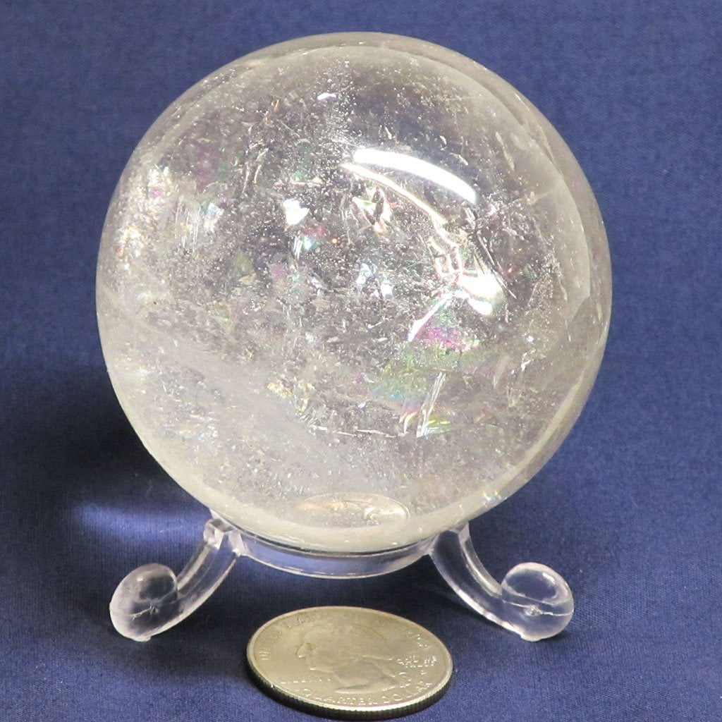 Polished Clear Quartz Crystal Sphere Ball with Rainbows
