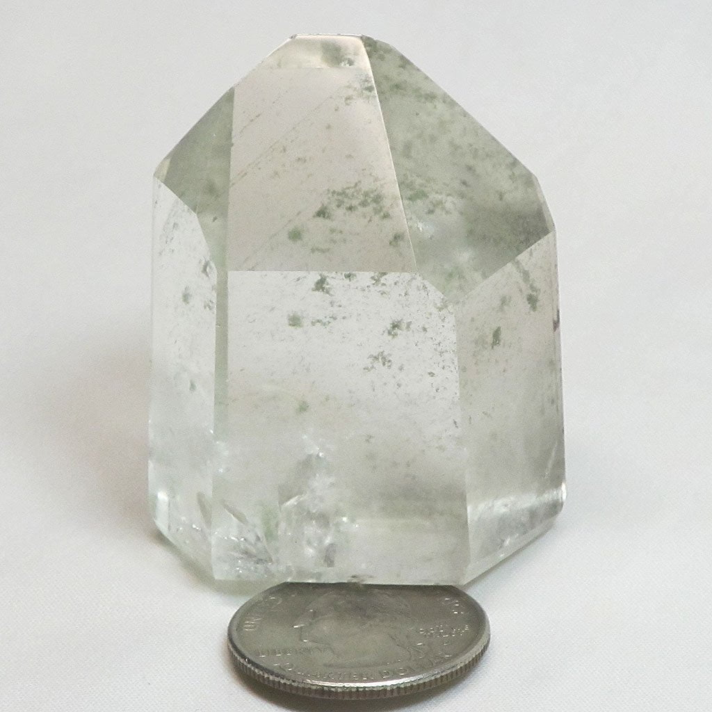 Polished Quartz Crystal Point with Green Chlorite Ghost Phantoms