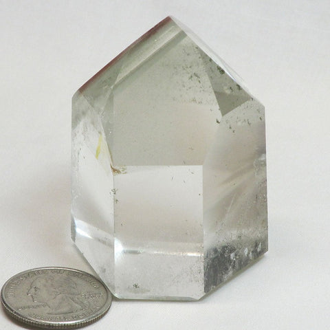 Polished Smoky Quartz Crystal Point with Green Chlorite Phantoms