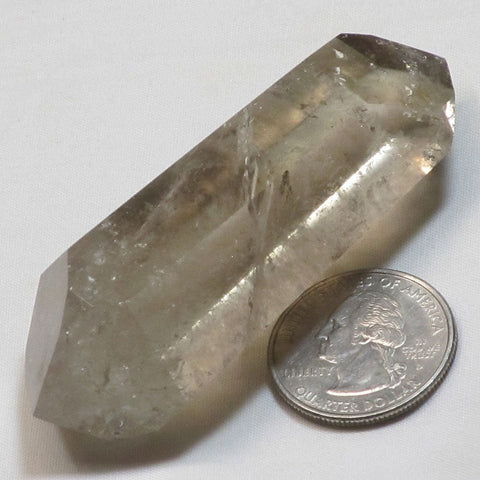 Polished Smoky Quartz Crystal Double Terminated Point w/ Tiny Rainbows