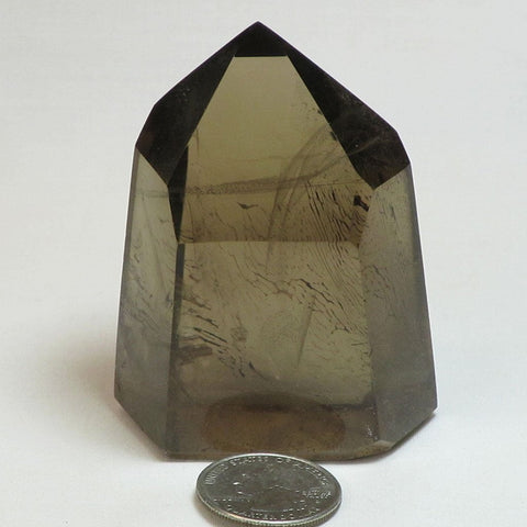 Polished Smoky Quartz Crystal Point with Time-Link & Rainbow