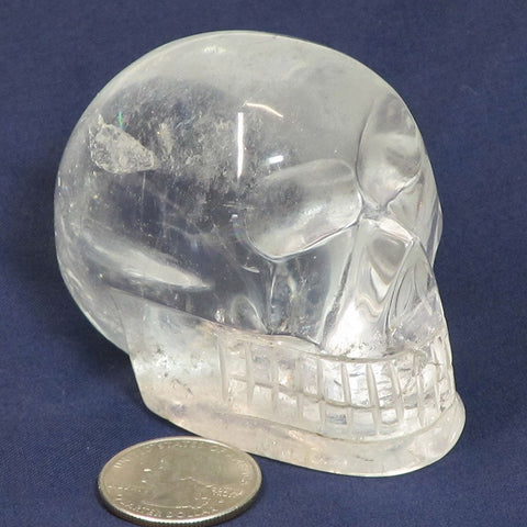 Carved Clear Quartz Crystal Skull with Rainbows