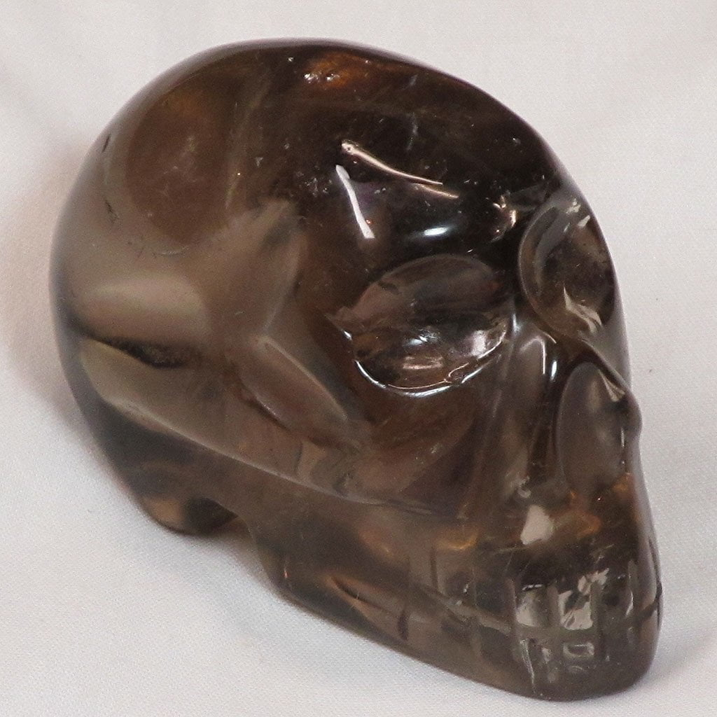 Carved Smoky Quartz Crystal Skull