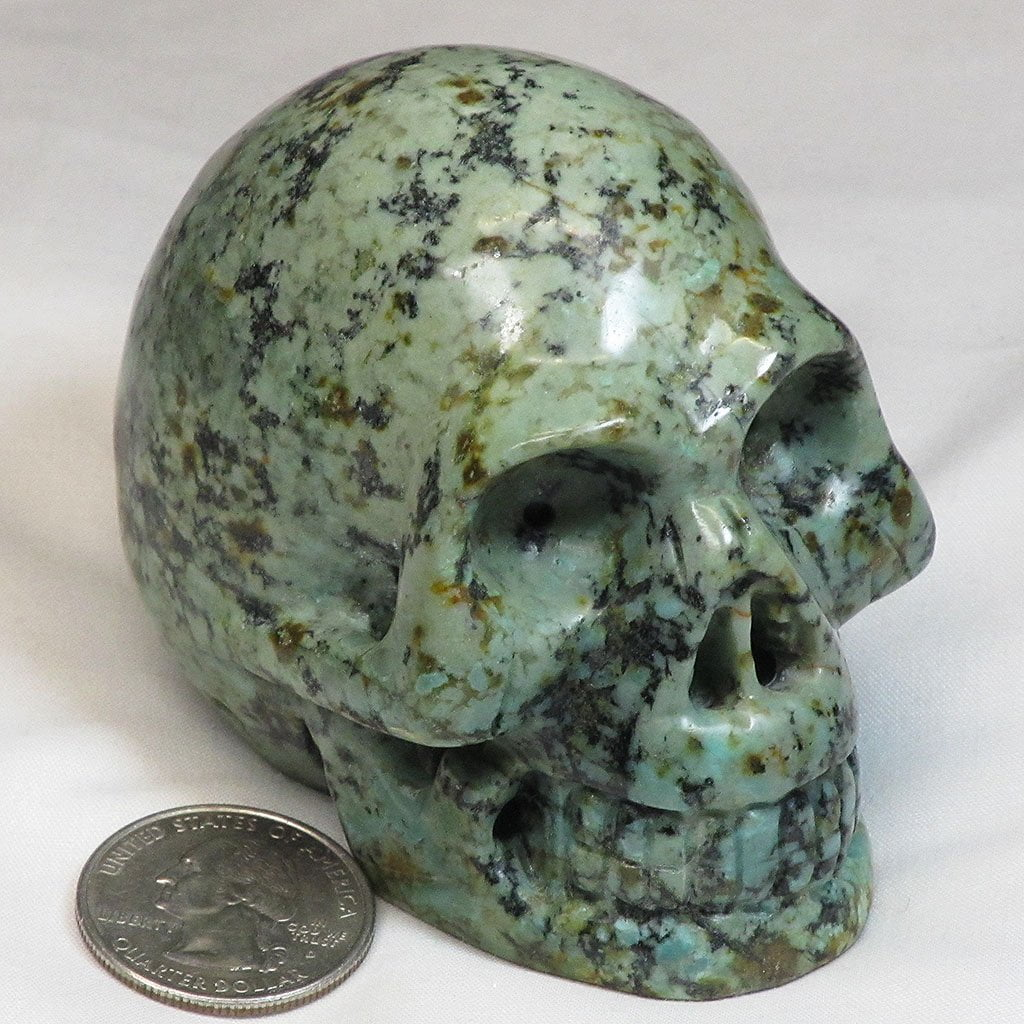 Hand Carved African Turquoise Skull