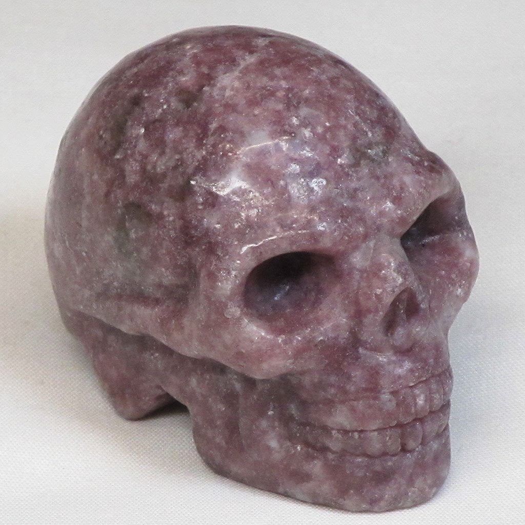 Hand Carved Lepidolite Skull from Brazil