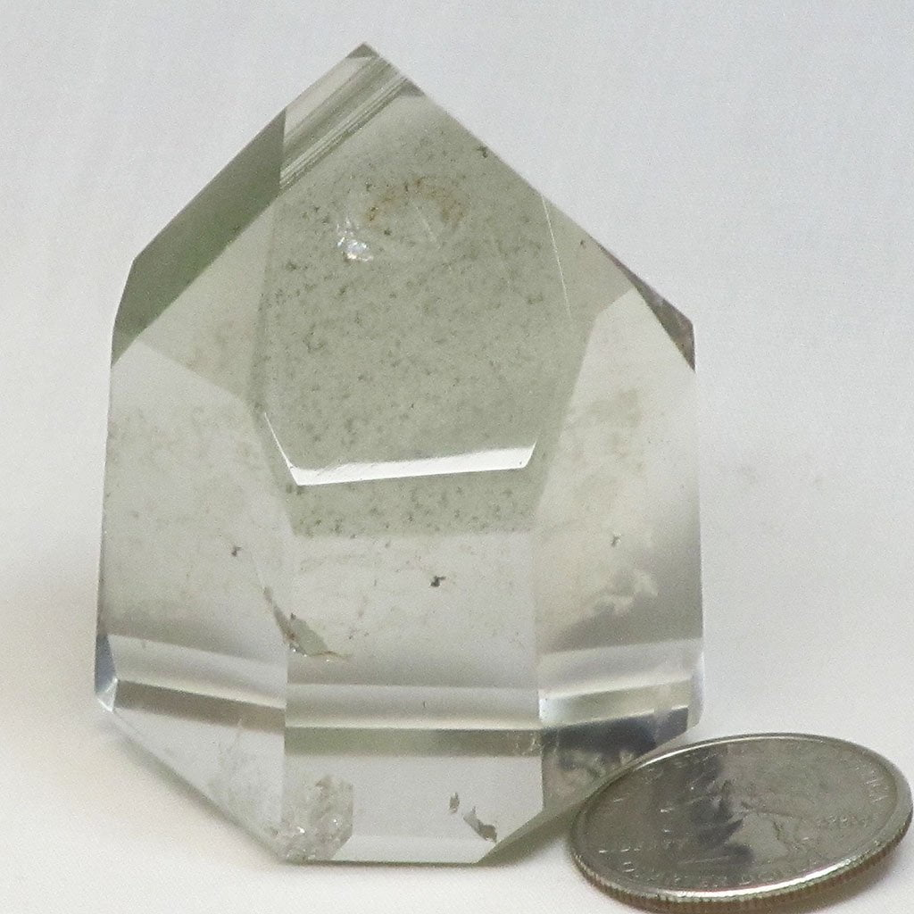 Polished Clear Quartz Crystal Point with Chlorite Phantoms
