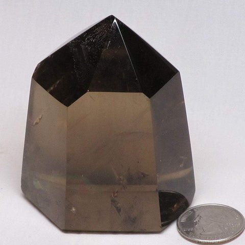 Polished Smoky Quartz Crystal Point with Rainbow