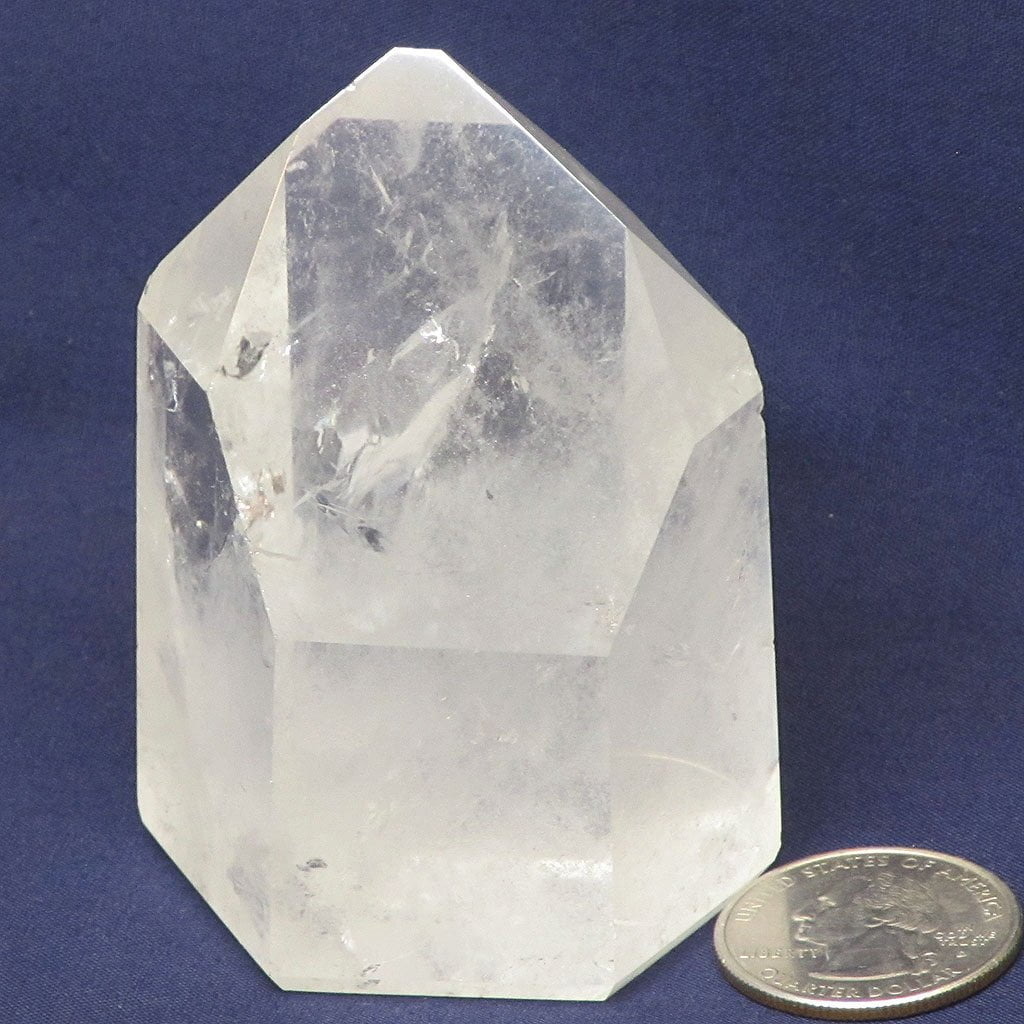 Polished Clear Quartz Crystal Grounding Point with Rainbows