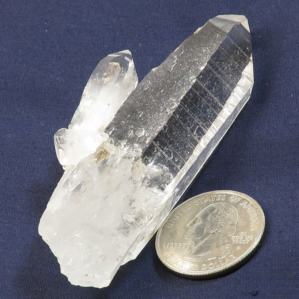 Colombian Singing Lemurian Quartz Crystal Point with Rainbow