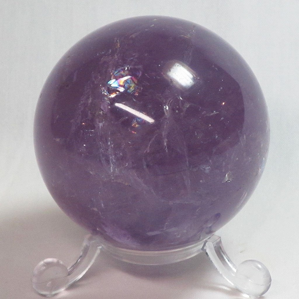 Polished Amethyst Sphere with Rainbows