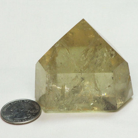 Polished Citrine Point with Rainbows