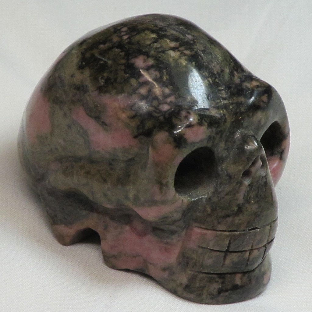 Carved Rhodonite Skull | Blue Moon Crystals & Jewelry