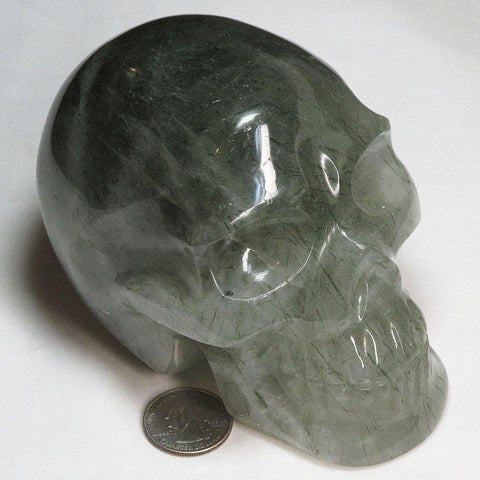 Carved Green Epidote Included Quartz Skull | Blue Moon Crystals