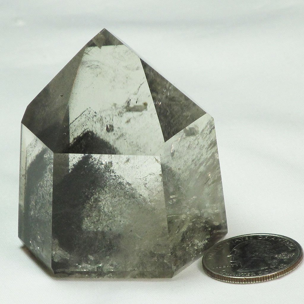 Polished Smoky Quartz Crystal Point with Multiple Phantoms