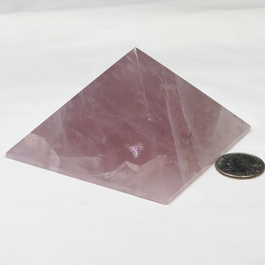 Polished Rose Quartz Pyramid with Rainbow | Blue Moon Crystals