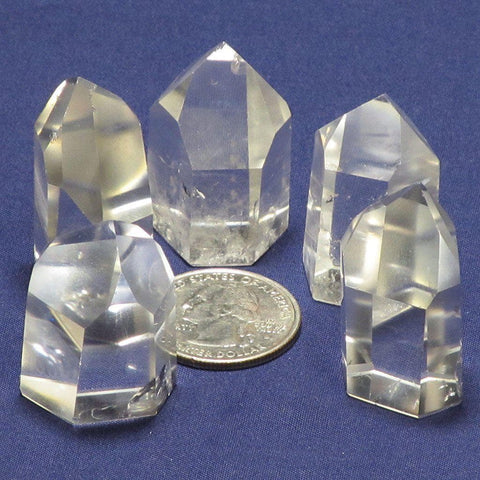5 Polished Clear Quartz Points from Brazil | Blue Moon Crystals
