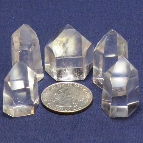 5 Polished Clear Quartz Points from Brazil
