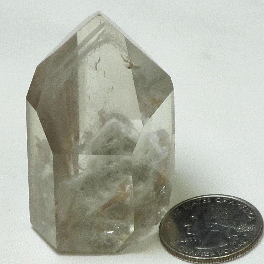 Polished Lodolite Smoky Quartz Crystal Point with Phantoms