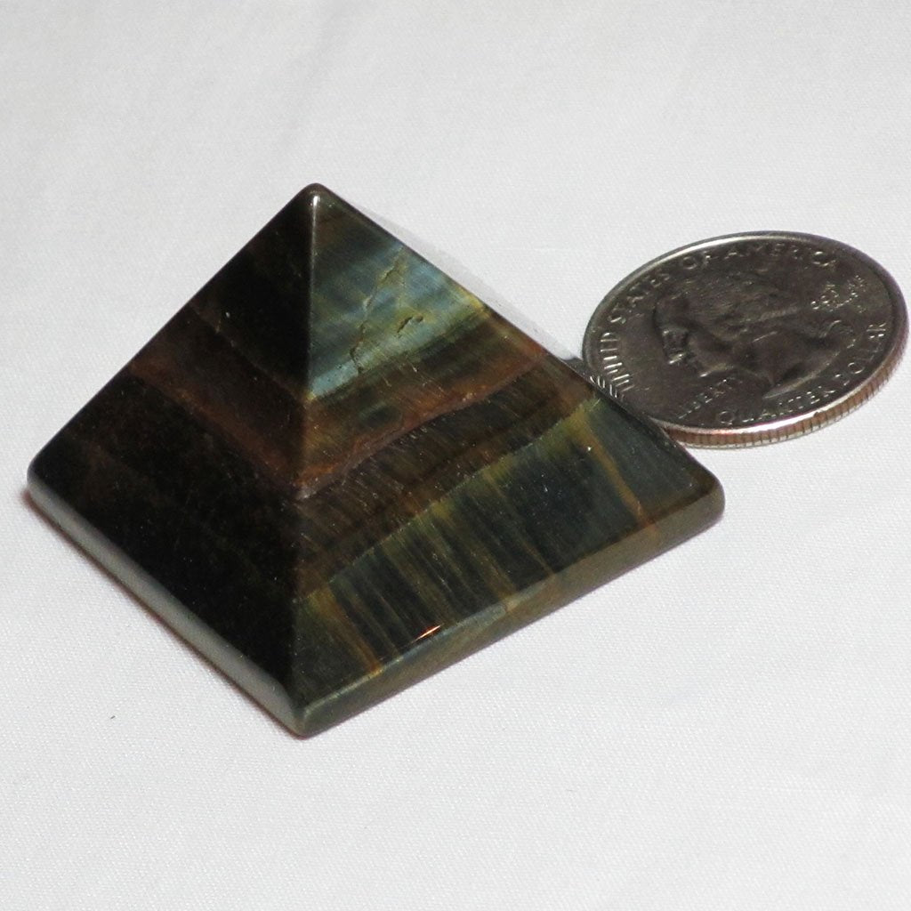 Polished Golden Blue Tiger Eye Pyramid | Blue Moon Crystals