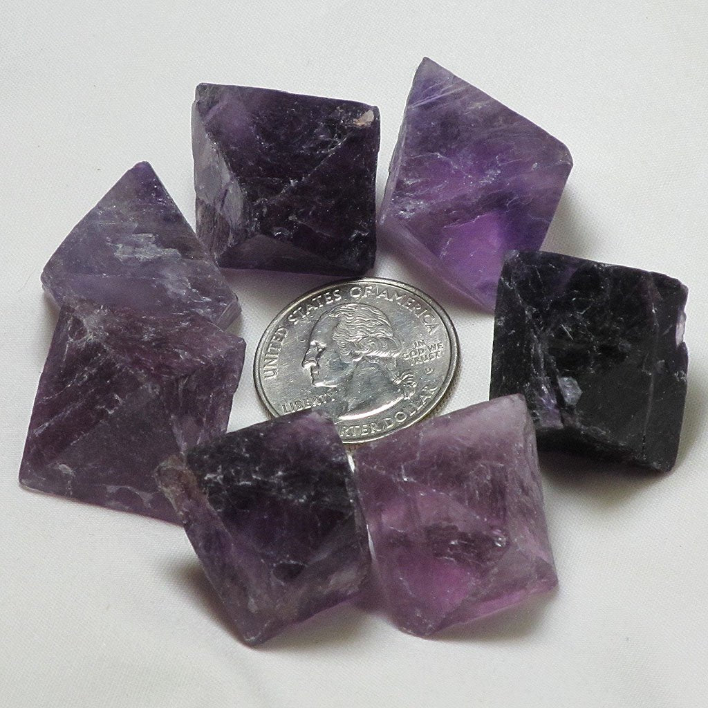 7 Purple Fluorite Octahedrons | Blue Moon Crystals & Jewelry