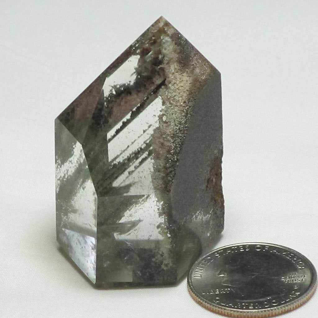 Polished Lodolite Quartz Crystal Point with Phantoms
