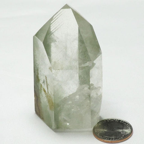 Polished Quartz Crystal Point with Chlorite Phantoms