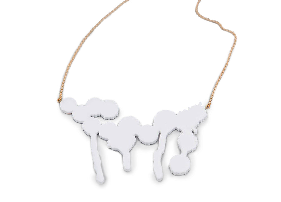 Splatter Necklace White