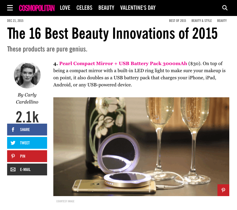 "Cosmopolitan calls Pearl one of the ""Best Beauty Innovations of 2015"""