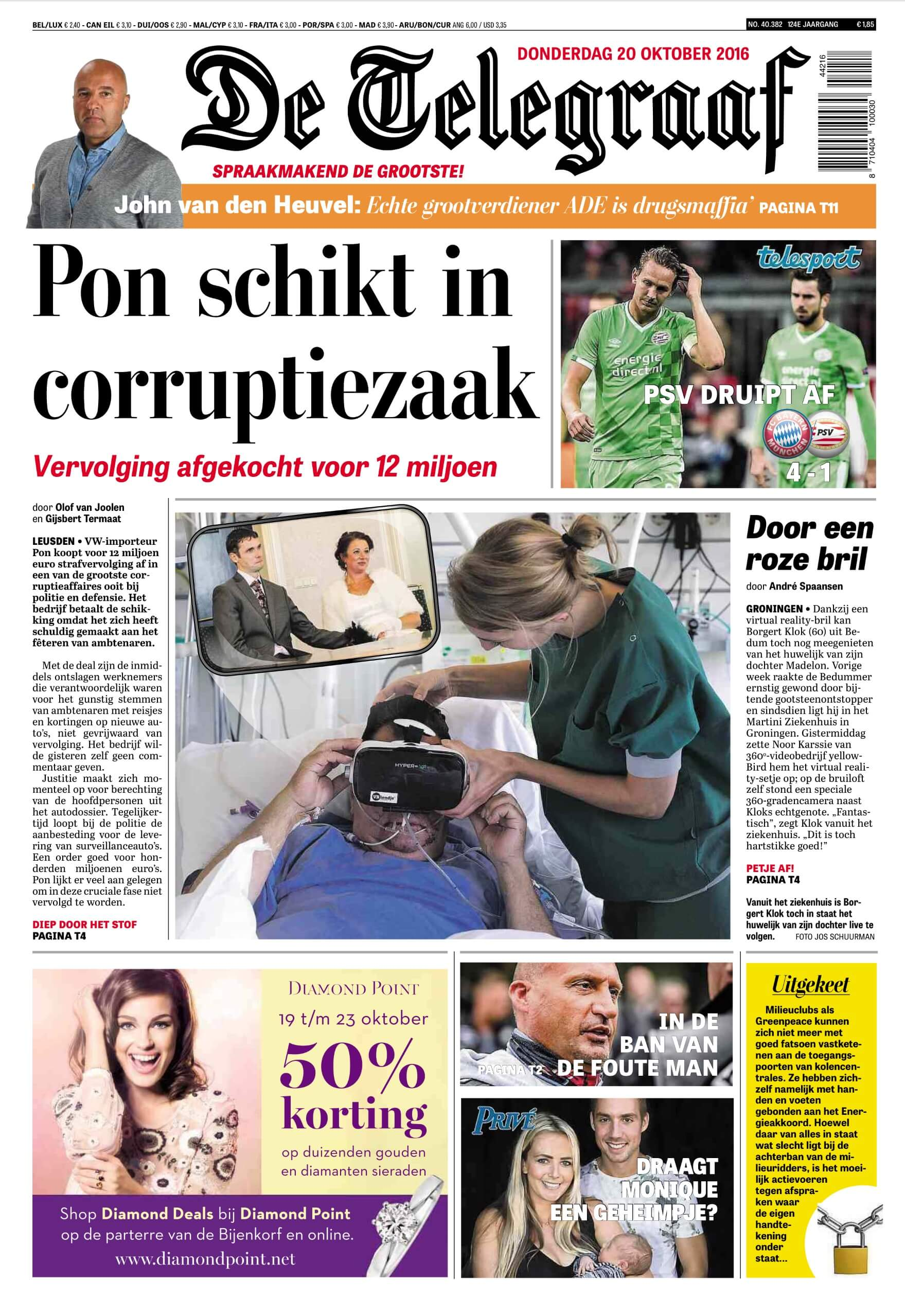HyperVR on the front page of Netherlands newspaper, De Telegraaf