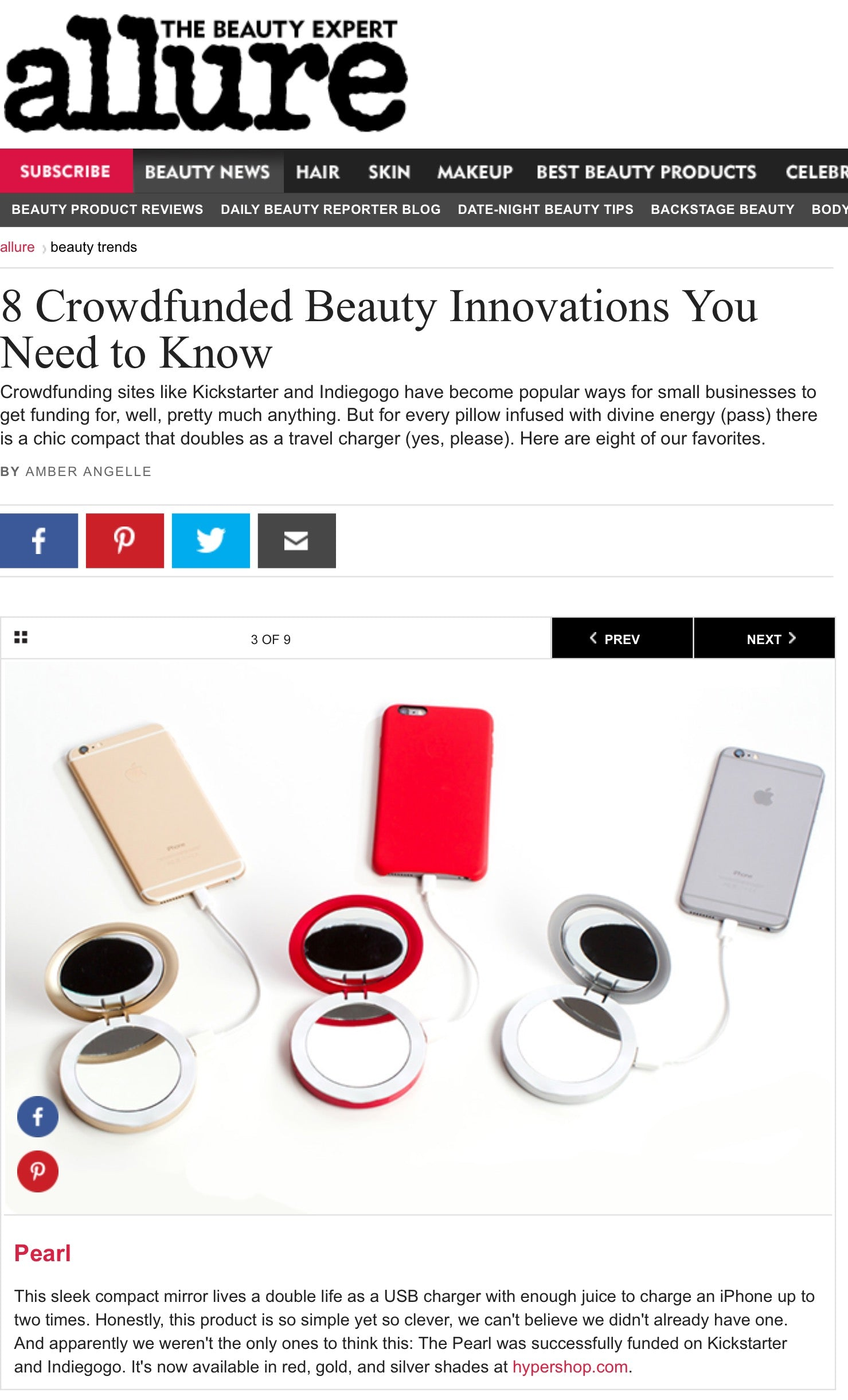 "Allure says Pearl is one of the ""Crowdfunded Beauty Innovations You Need to Know"""