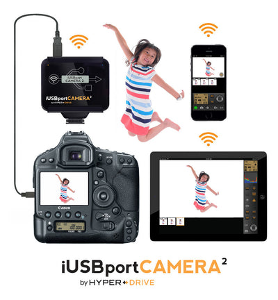 HyperDrive iUSBportCAMERA 2 - Canon/Nikon DSLR Wireless Tether to iPhone, iPad, Android, Mac & PC