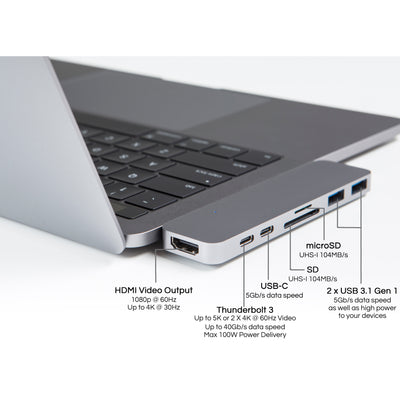 "HyperDrive 7-in-2 Hub for USB-C MacBook Pro 13""/15"" 2016/2017/2018 and MacBook Air 2018 (Kickstarter Version)"