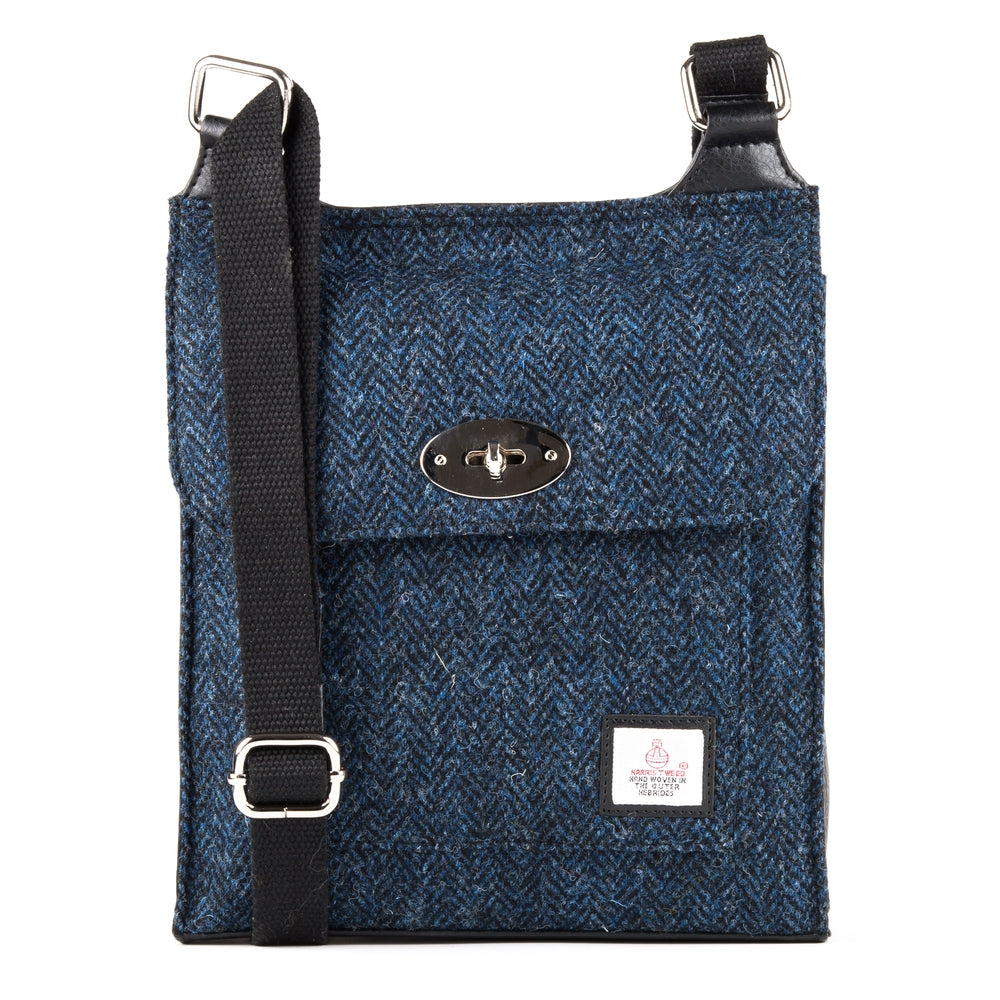 Harris Tweed - Satchel Bag - Herringbone Blue