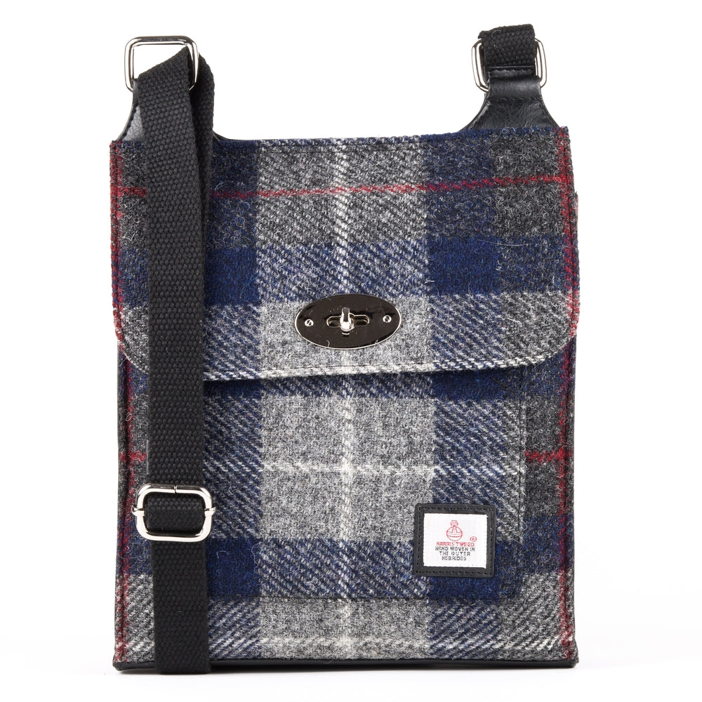 Harris Tweed - Satchel Bag - Plaid Navy & Blue